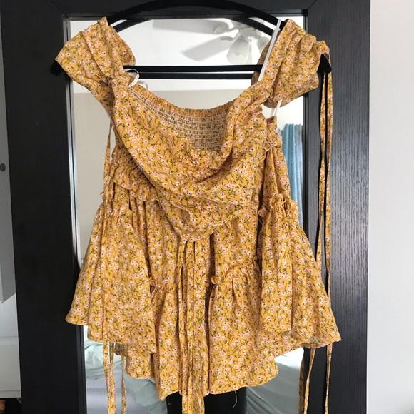 2-piece yellow floral top & skirt